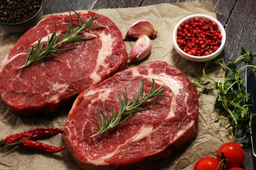 Steak raw. Barbecue Rib Eye Steak, dry Aged Wagyu Entrecote Steak.