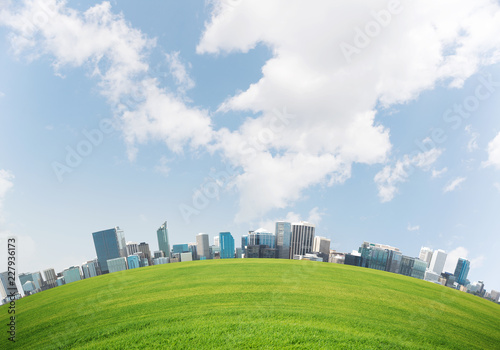 Bright wallpaper of nature friendly city. - 227936173