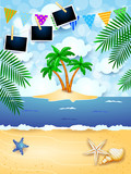Summer background with festoon, tropical island and photo frames - 227936985