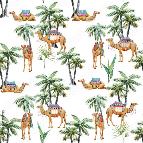 Watercolor camel and palm pattern - 227938749