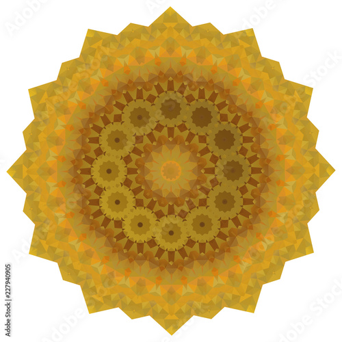 Round Gold Polygonal Background - 227940905