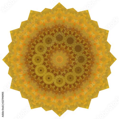 Round Gold Polygonal Background - 227940905