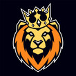 Lion in Crown Vector Mascot