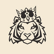 Tiger in Crown Vector Mascot