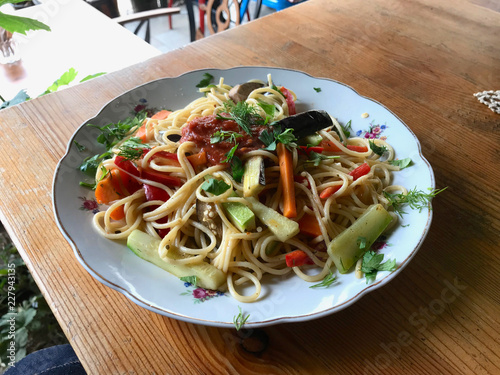 Pasta Spaghetti with Vegetables. © Alp Aksoy