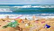 Quadro Strand mit Plastikmüll