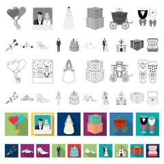 Wedding and Attributes flat icons in set collection for design. Newlyweds and Accessories vector symbol stock web illustration.