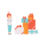 Boy feeling happy after receiving big pile of presents, kids celebrating birthday vector Illustration on a white background
