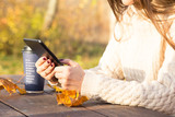Girl with tablet in autumn park