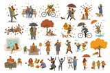 autumn fall thanksgiving halloween people outdoor and at home cartoon vector illustration set, man woman couples children walk with umbrellas, dogs, spend time in the park, ride bikes, read book,