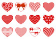 Set of different hearts isolated on white