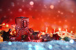 Leinwanddruck Bild - Weihnachtsgeschenke - kleine Päckchen liebevoll verpackt - Weihnachtshintergrund mit Textfreiraum