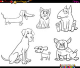 cartoon purebred dog characters color book - 227957956