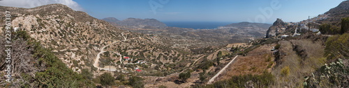 Panoramic view of the landscape near Menetes on Karpathos in Greece - 227961387