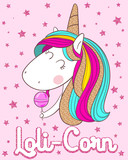 cute unicorn with lollipop on the pink background - 227972149