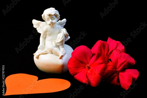 Winged angel of love on a black background, a red flower and a heart, tells the will of God and has supernatural powers. - 227974155