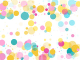 Memphis round confetti festive background in cyan blue, pink and yellow. Childish pattern vector. - 227976178