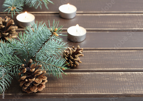 Christmas items on wooden board