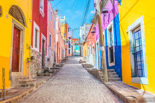 Colorful alleys and streets in Guanajuato city, Mexico  - 227984787