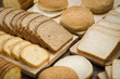 Overhead view of a still life of different types of bread for sandwich