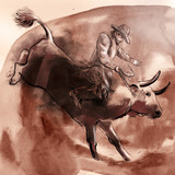 Rodeo. An hand drawn illustration. Freehand drawing, painting. - 227987999