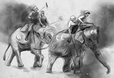 Elephant polo. An hand drawn illustration. Freehand drawing, painting. - 227988191
