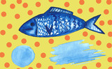 watercolor spot and blue fish food sea abstract