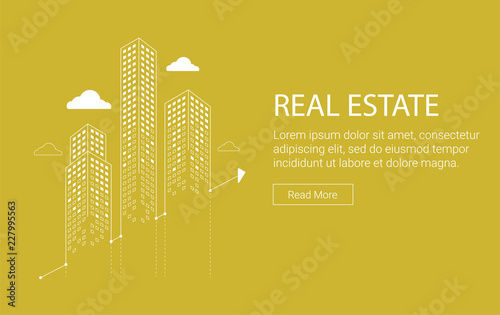 Real estate investment grahic with skyscrapers and clouds - 227995563