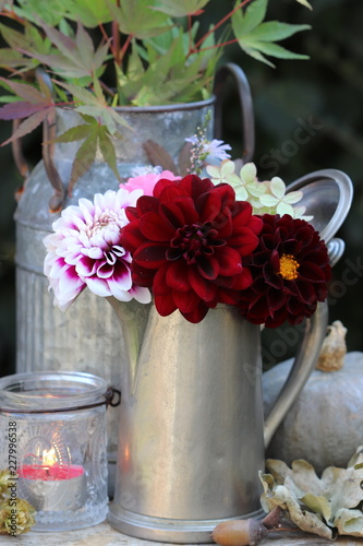 bouquet of dahlia flowers in antique coffee can