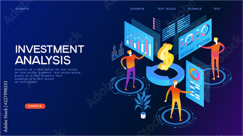 investment analysis isometric concept banner