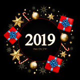 2019 New Year Decorative Border made of Festive Elements on black background. Vector illustration - 228001507