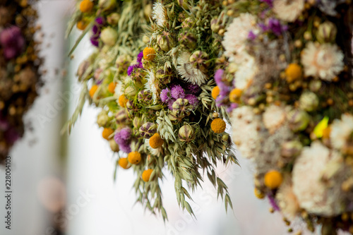 Mix of a dry flowers for sale at the farmer's market. Autumn season time © Masson