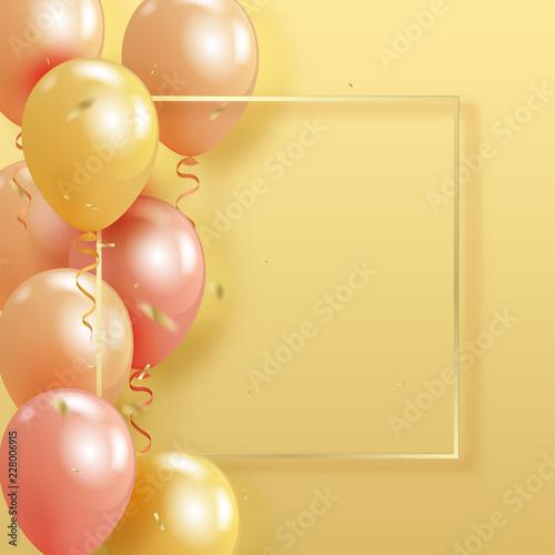 Zestaw realistyczny perła błyszczące balony helem pływające na żółtym tle i złoty confetty. 3D balony 3D na urodziny, imprezę, wesele lub promocyjne banery lub plakaty.