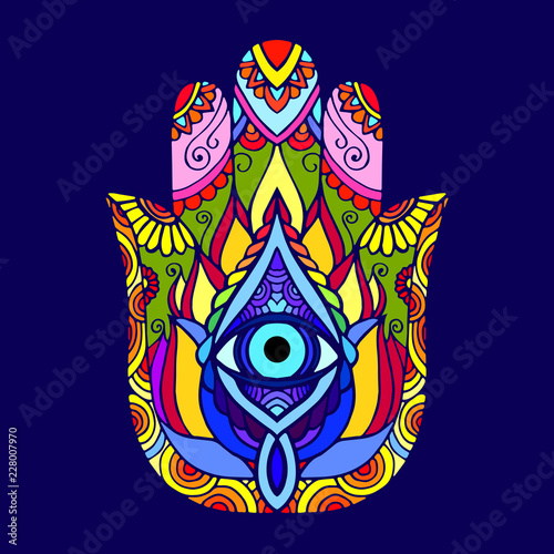 Hand drawn Hamsa symbol. Ethnic Indian, Arabic, Jewish hamsa amulet. Colorful Hamsa symbol with floral ornament. © Тетяна Яцишина