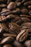 Roasted coffee beans in close-up