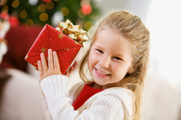 Christmas: Cute Girl with Christmas Gift