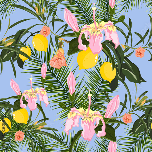 Seamless tropical pattern with palm leaves, lemon tree and exotic flowers. Bright summer design on a blue background for printing on fabric, wallpaper and paper. - 228010537