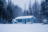 Blue house in winter forest - 228011747