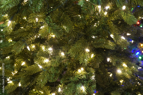 Foto Murales Close up on Christmas tree with light