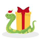 Cute snake in Santa hat celebrate christmas - 228025998