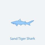 sand tiger shark 2 colored line icon. Simple light and dark blue element illustration. sand tiger shark concept outline symbol design from fish set