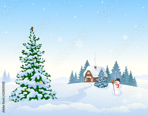 Winter landscape background and Christmas tree © Merggy