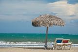 Beach umbrellas on Caribbean sea