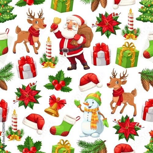 Christmas Santa, gift and snowman seamless pattern
