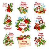 Christmas and winter holidays festive badges
