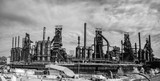 Panoramic view of the steel factory still standing in Bethlehem PA as it rusts, and discolors with age