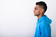 Quadro Young Indian man wearing hoodie against white background