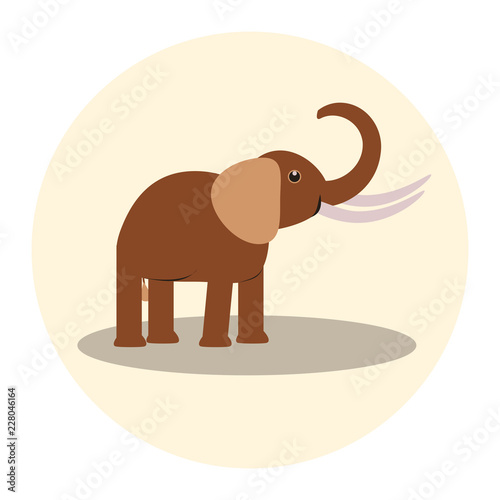 Poster brown elephant on a light background