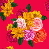 flowers seamless pattern ,roses and yellow cosmos