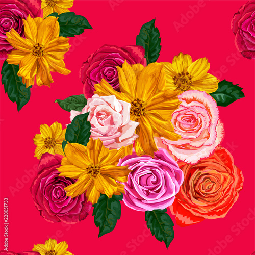 Wall mural flowers seamless pattern ,roses and yellow cosmos